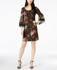 Msk Bell Sleeve Printed Chiffon Dress Black Pink White