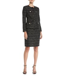 Albert Nipon Tweed Two Piece Jacket And Skirt Suit Set Black Gold