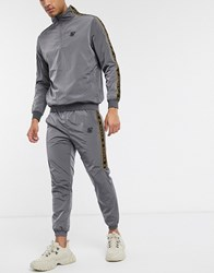 Sik Silk Siksilk Crushed Nylon Tapered Joggers In Grey With Logo Taping
