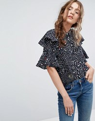 Lily And Lionel Silk Ruffle Shirt In Celestial Print Black