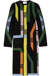 Peter Pilotto Track Ribbed Stretch Wool Blend Coat Black