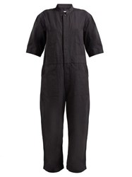 Chimala Utility Pocket Cotton Oxford Jumpsuit Dark Grey