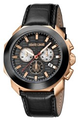 Roberto Cavalli By Franck Muller Sport Chronograph Leather Strap Watch Black Rose Gold Black