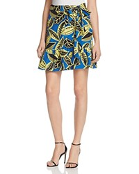 Boutique Moschino Printed Faux Wrap Skirt Blue Yellow