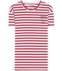 Etre Cecile Striped Cotton T Shirt Red