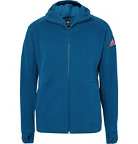 Adidas Sport Adida Port Z.N.E. Cotton Blend Pique Zip Up Hoodie Cobalt Blue