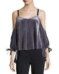 Romeo And Juliet Couture Velvet Ribbon Cold Shoulder Blouse Gray