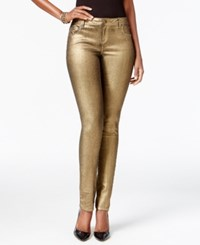 Inc International Concepts Petite Regular Fit Skinny Leg Metallic Gold Wash Jeans Only At Macy's