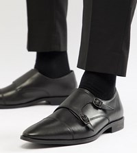 Frank Wright Wide Fit Monk Shoes In Black Leather