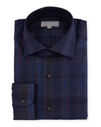 Neiman Marcus Overdye Plaid Dress Shirt Purple