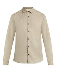 Gieves And Hawkes Button Cuff Cotton Cashmere Blend Shirt Beige
