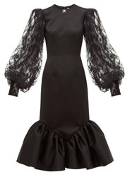 Christopher Kane Cupcake Lace Sleeve Satin Midi Dress Black
