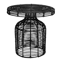 Bloomingville Cuba Rattan Side Table Black