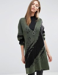 Selected Oversized Cardigan With Zip Green