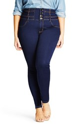 City Chic Plus Size Women's Harley Corset Waist Stretch Skinny Jeans Dark Denim