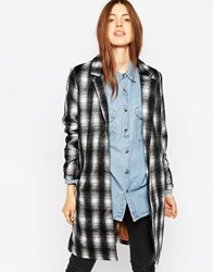 Brave Soul Double Breasted Checked Coat Whiteblack