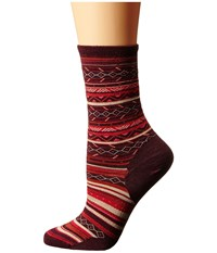 Smartwool Ethno Graphic Crew Moab Rust Heather Women's Crew Cut Socks Shoes Red