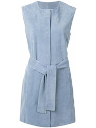 Drome Sleeveless Belted Vest Women Acetate Cupro Goat Suede M Blue