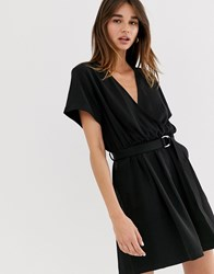 Weekday Belted Mini Wrap Dress In Black