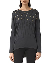 Allsaints Lao Wave Leopard Print Tee Dark Night