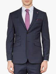 Ted Baker York Wool Check Tailored Suit Jacket Navy