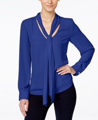 Inc International Concepts Petite Long Sleeve Tie Neck Blouse Only At Macy's Egyptian Blue
