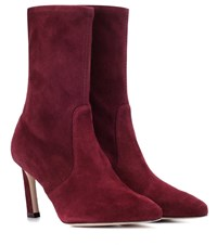 Stuart Weitzman Rapture 75 Suede Ankle Boots Red
