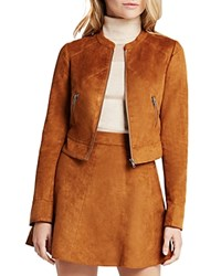 Bcbgeneration Faux Suede Cropped Jacket Golden Cognac