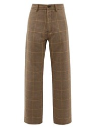 Marni Houndstooth Check Wool Trousers Beige