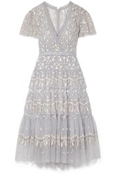 Needle And Thread Angelica Tiered Embroidered Tulle Midi Dress Sky Blue