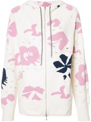 Barrie Moon Flower Zipped Hoodie White