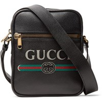 Gucci Logo Print Full Grain Leather Messenger Bag Black