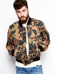 Denim And Supply Ralph Lauren Bomber Jacket With All Over Floral Print Beige