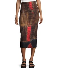 Urban Zen Printed Stretch Woven Pencil Skirt Black Red Black Red