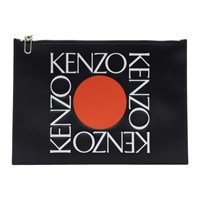 Kenzo Black Leather Square Logo Pouch