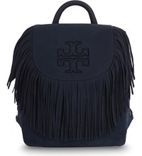 Tory Burch Harper Fringe Mini Suede Backpack Tory Navy