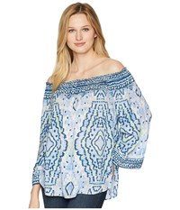 Hale Bob Feel The Heat Lightweight Woven Top Blue Clothing