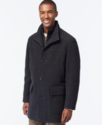 Cole Haan Wool Blend Knit Collar Overcoat Charcoal