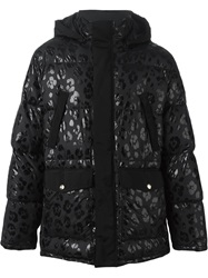 Moschino Leopard Print Padded Jacket Black