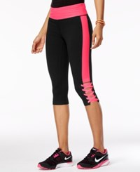 Material Girl Active Juniors' Lace Up Cropped Leggings Classic Black