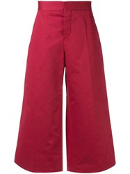 Marni Cropped Wide Leg Trousers Red
