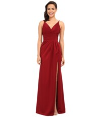 Faviana Satin Faille V Neck Gown W Lightly Rouched Bodice Delicate Draping On Skirt 7755 Wine Women's Dress Burgundy