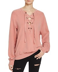 Project Social T Lace Up Sweatshirt Pink Spice