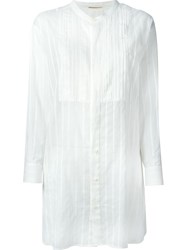 Saint Laurent Striped Sheer Tunic White