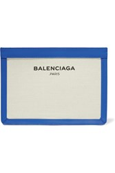Balenciaga Leather Trimmed Canvas Clutch