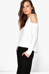 Boohoo Cut Out Shoulder Wrap Over Crepe Top White