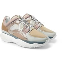 Fendi Mesh Leather Pvc And Rubber Sneakers Sand