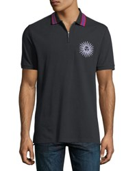 Ovadia And Sons Sun Embroidered Half Zip Polo Shirt Black