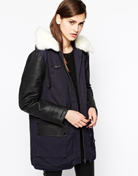 French Connection Rhumba Parka With Faux Fur Lined Collar Utilityblueblack