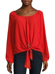 Saks Fifth Avenue Red Solid Boatneck Peasant Top